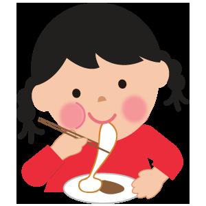 もちを食べる女の子のイラスト