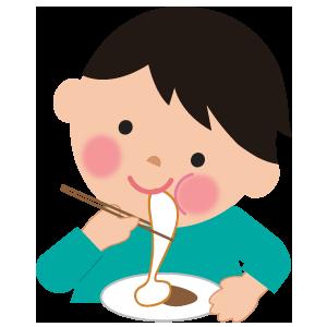 もちを食べる男の子のイラスト