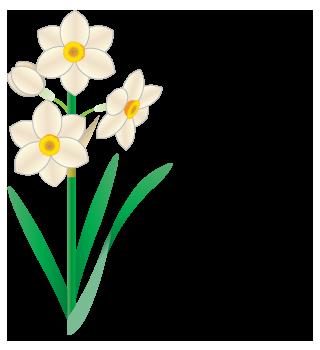 2月と水仙のイラスト文字