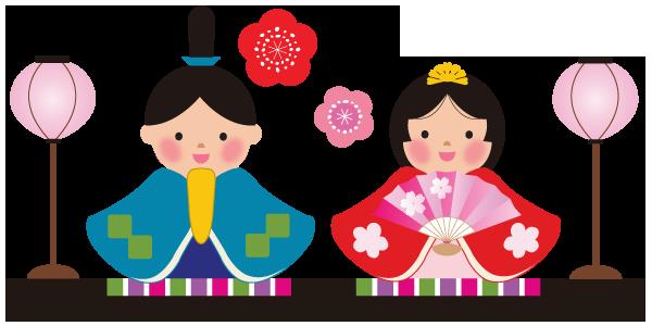 雛人形と桃の花のイラスト