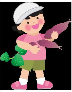 芋掘りをする女の子のイラスト