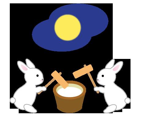 中秋の名月とうさぎの餅つき
