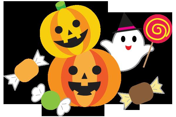 かぼちゃのおばけとお菓子のイラスト