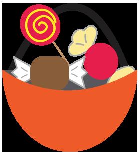 ハロウィンのお菓子丸のイラスト