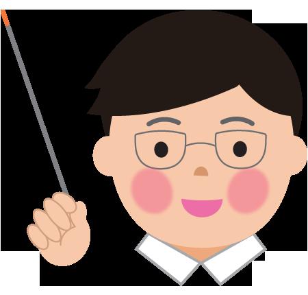 指差し棒で教える男の先生のイラスト