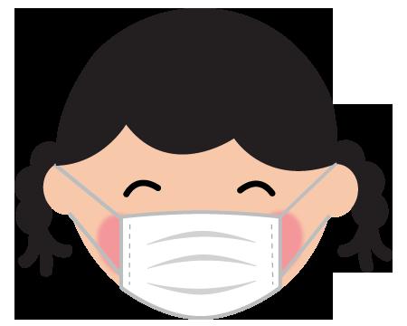 マスクをした笑顔の女の子のイラスト