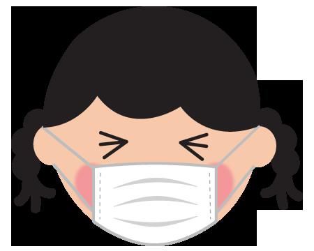 マスクをしたツラい女の子のイラスト