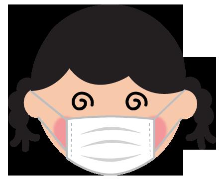 マスクをした目が回る女の子のイラスト