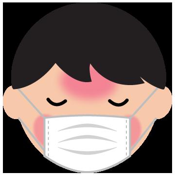 マスクをした発熱して眠る男の子のイラスト