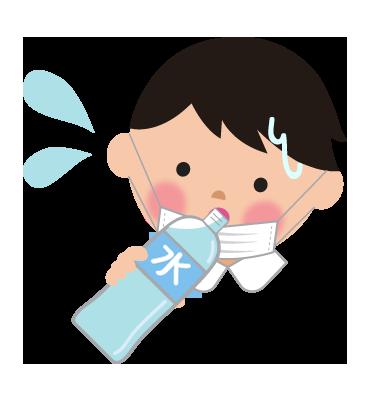 マスクによる熱中症予防と水分補給男の子