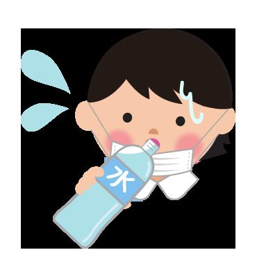 マスクによる熱中症予防と水分補給女の子