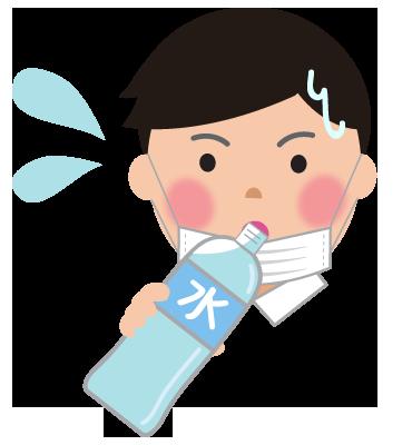 マスクによる熱中症予防と水分補給男性