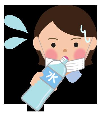マスクによる熱中症予防と水分補給女性