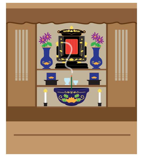 沖縄の仏壇のイラストです。