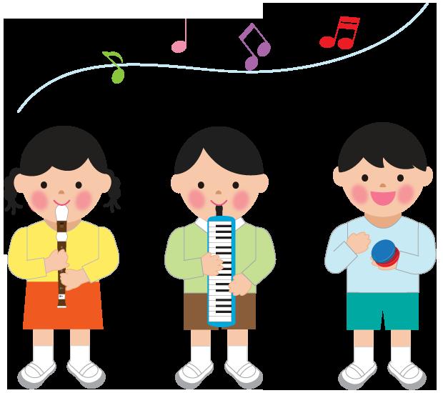 音楽の授業で楽器を演奏するこどもたちのイラスト