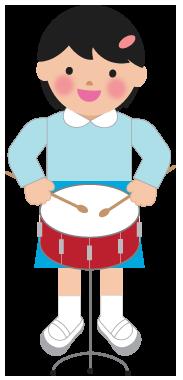 小太鼓の演奏のイラスト