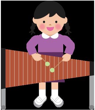 木琴の演奏のイラスト