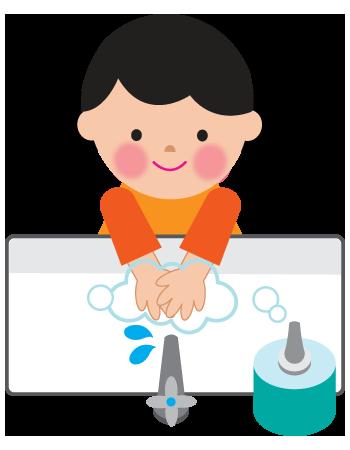 キレイに手を洗う女の子石鹸のイラスト