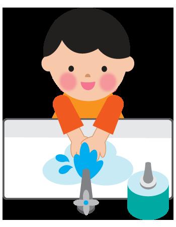 キレイに手を洗う女の子すすぎのイラスト