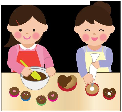 お母さんと手作りチョコ